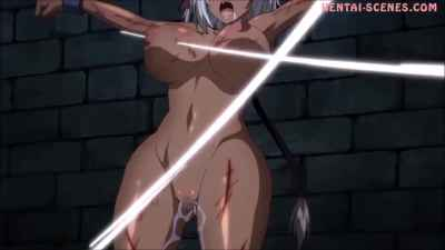 Submissive anime chick get extremely wet from being whipped and tied